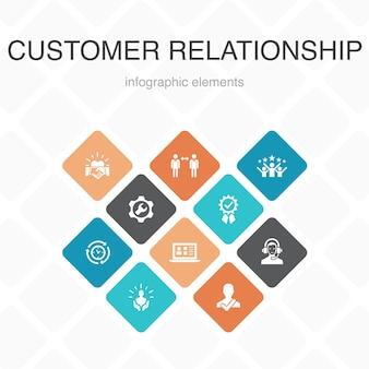 顧客関係インフォグラフィック10オプションカラーdesign.communication、サービス、crm、カスタマーケアシンプルアイコン