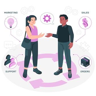 Illustrazione del concetto di gestione delle relazioni con i clienti