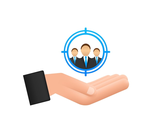 Customer relationship management concept with hands organization of data on work with clients