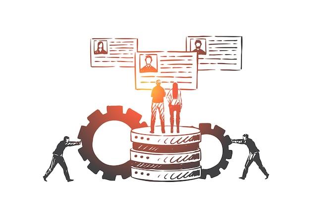 顧客、関係、管理、crmコンセプトスケッチ。ビジネスマンは大きなシステムにギアを運び、クライアントのプロファイルを調べます。手描きの孤立したベクトル図
