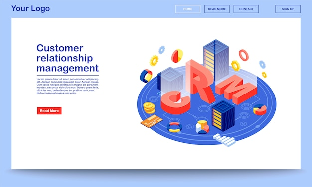 Customer relationship management database isometric landing page template. crm hosting website interface.