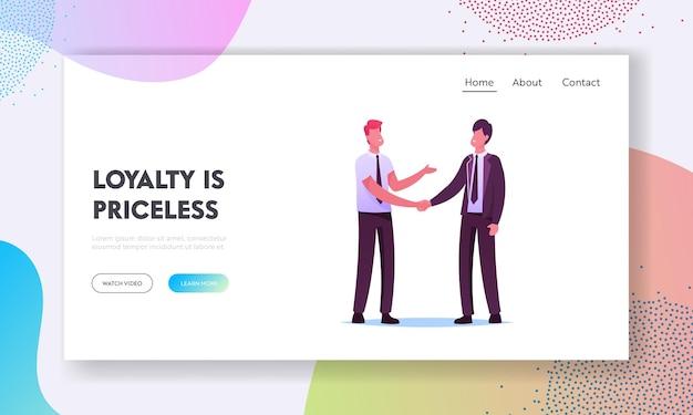 顧客関係管理ランディングページテンプレート。ビジネスパートナー男性のハンドシェークとパートナーシップ