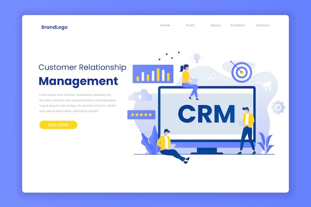 Customer relationship management landing page template