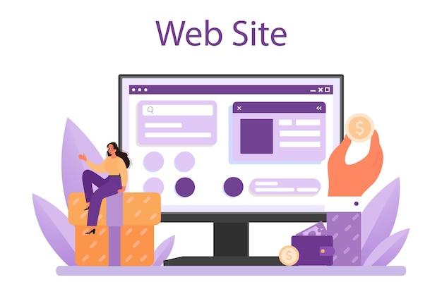 고객 관계 온라인 서비스 또는 플랫폼. 고객 유지를 위한 상용 프로그램. 고객 충성도를 위한 pr 캠페인. 웹사이트. 평면 벡터 일러스트 레이 션