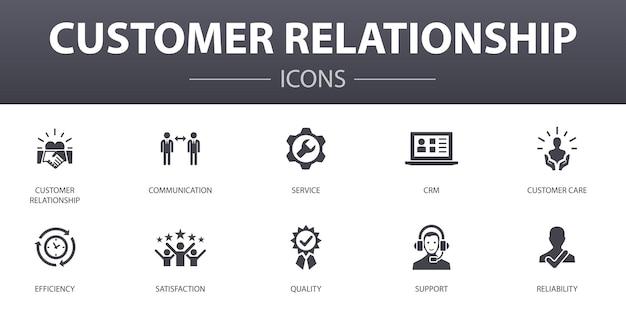 顧客関係のシンプルなコンセプトアイコンを設定します。コミュニケーション、サービス、crm、カスタマーケアなどのアイコンが含まれており、web、ロゴ、ui / uxに使用できます