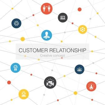 シンプルなアイコンと顧客関係のトレンディなwebテンプレート。コミュニケーション、サービス、crm、カスタマーケアなどの要素が含まれています