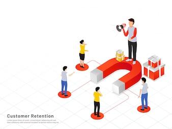 Customer retention background.