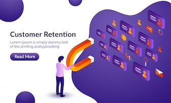 Customer retention background.