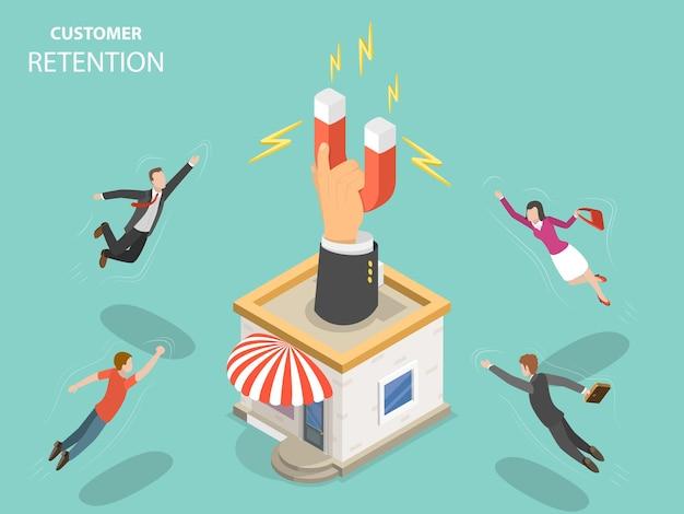 Customer retention flat isometric concept