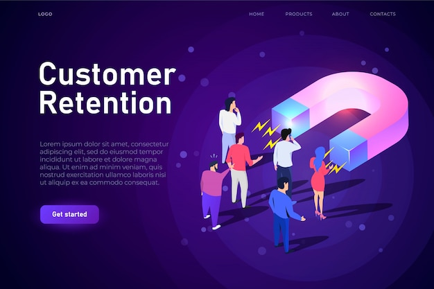 Customer retention isometric illsutration, webpage landing template. big magnet attracts customers, buyers. responsive design for e-commerce sphere.