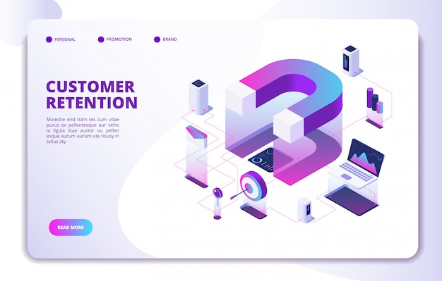 Customer retention landing page