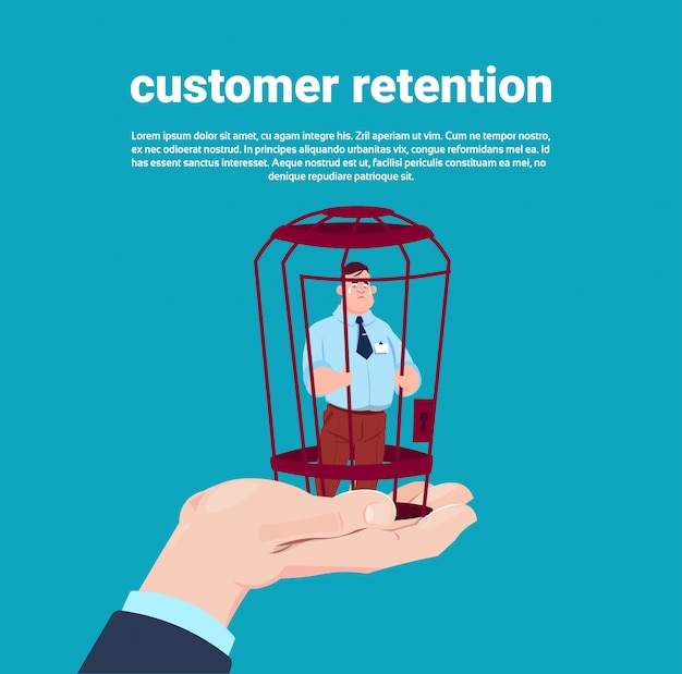 Customer retention manager hand holding a client in locked cage over blue background flat