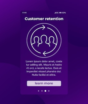 Customer retention, returning clients vector banner with line icon