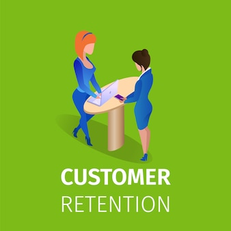 Customer retention square banner. relationship
