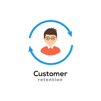 Customer retention vector icon. client return business marketing. user consumer care.