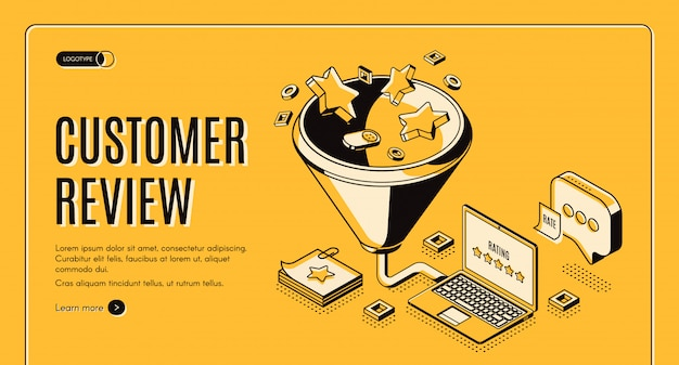 Customer review best result isometric landing page
