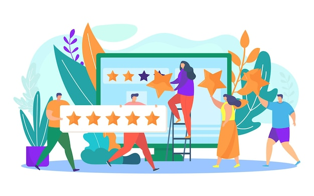 Customer review business rating and feedback vector illustration positive quality rate with stars po...