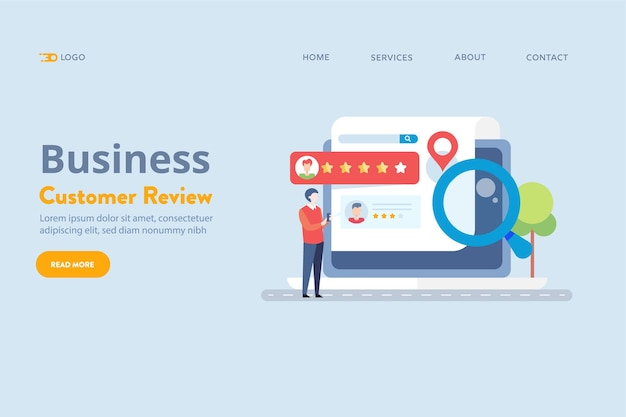 Customer review for business vector concept