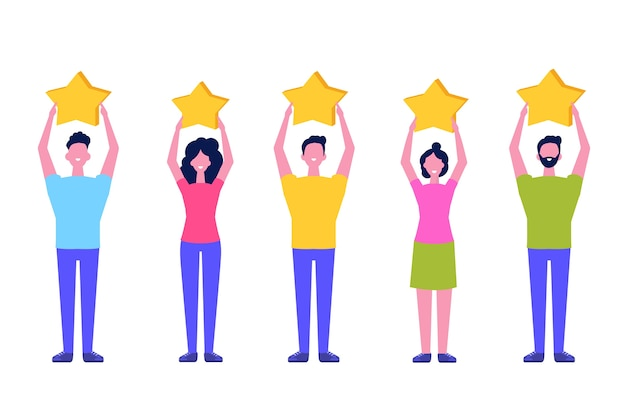 Customer review, feedback consumer flat style concept. people are holding stars.