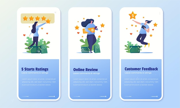 Customer review and feedback rating 5 star on onboard screen set