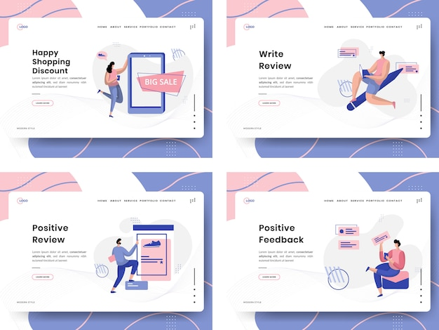 Customer review flat illustration landing page template set