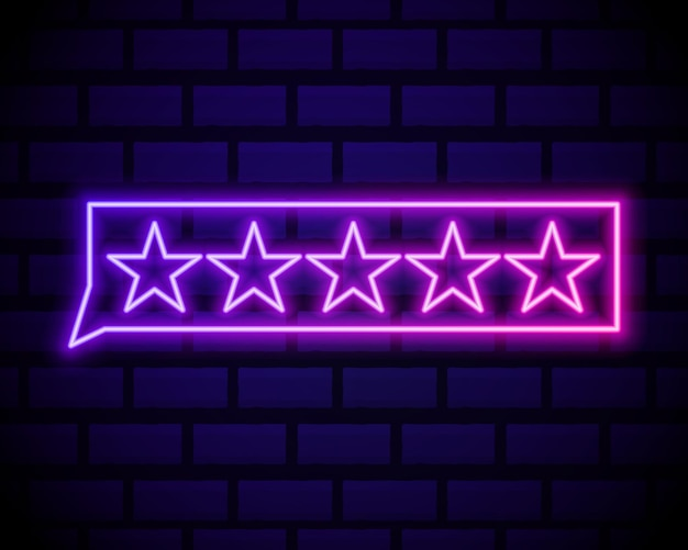 Customer review icon in neon line style. user feedback concept symbol.