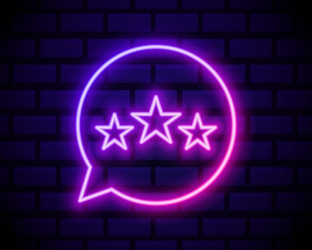 Customer review icon in neon line style. user feedback  symbol.