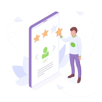 Customer review isometric concept - young man adds star in profile rating showing his satisfaction with good service.