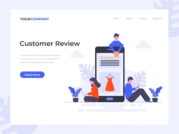 Customer review  landing page