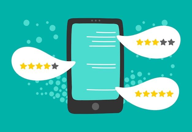 Отзыв клиента. онлайн-отзывы, рейтинг пять звезд на экране смартфона. иллюстрация обратной связи
