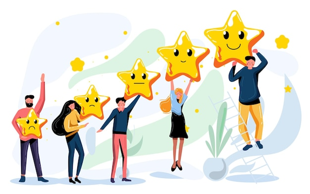 Customer review rating and best estimate of performance. people voting give score of five star point raising rank, performing successful rating, positive feedback, showing progress vector illustration