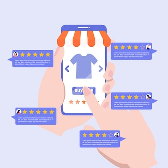 Customer review rating concept.