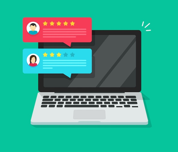 Customer review rating testimonial notices on laptop computer or pc with reputation rank online messages  illustration flat cartoon isometric