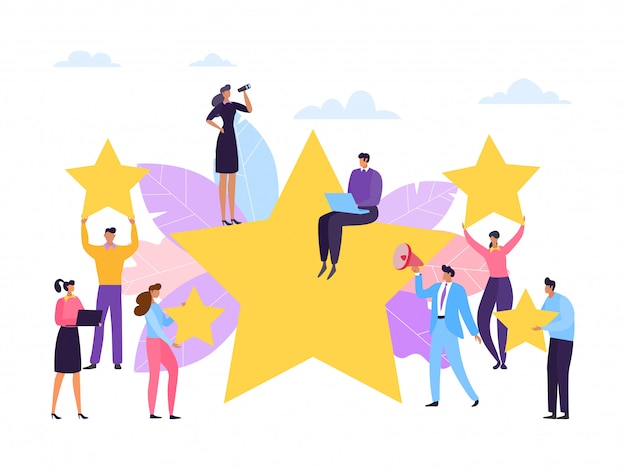 Customer review, service rate stars concept,  illustration. people feedback, business satisfaction for good service quality