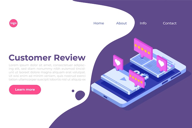 Customer review, usability evaluation, feedback, rating system isometric concept.