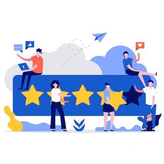 顧客レビューのコンセプト。五つ星のフィードバックを与える人々のキャラクター。クライアントは満足度評価を選択し、肯定的なレビューを残します。