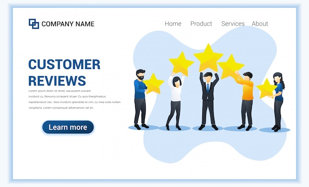 Customer reviews concept with different people give review rating and feedback with holding stars. illustration