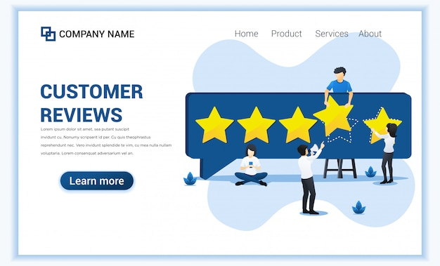 Customer reviews concept with people giving five stars rating, positive feedback, satisfaction and evaluation for product or services.