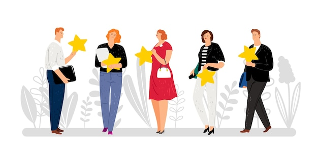 Customer reviews, feedback, five stars rating. flat people with golden stars illustration