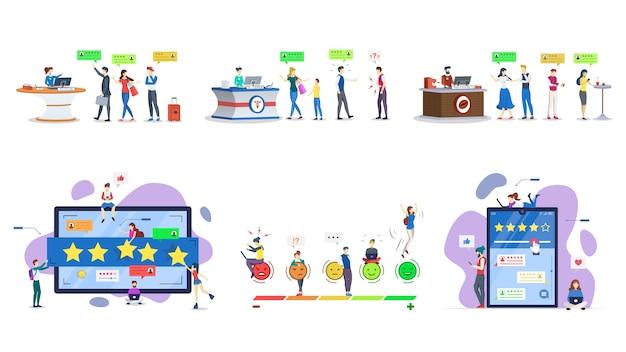 고객 리뷰 평면 일러스트 세트. 사용자 경험. 소비자 피드백. 고객 만족. 등급, 순위 개념. 품질 평가, 평가. 격리 된 만화 캐릭터 키트