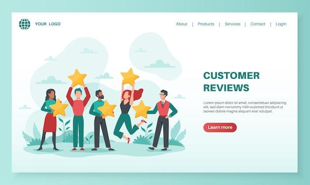 Отзывы клиентов, посадка дизайн иллюстрации