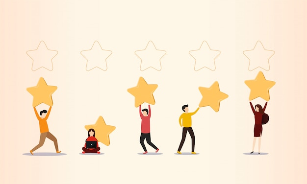 Customer reviews, people holding stars