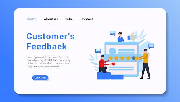 Обратная связь с клиентом плоская иллюстрация дизайна плоской страницы
