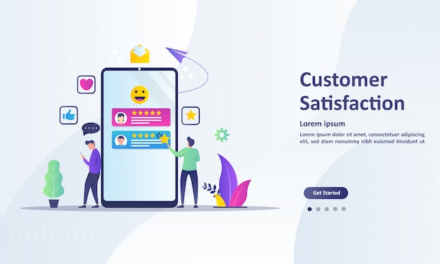 Customer satisfaction concept design, people give vote review results