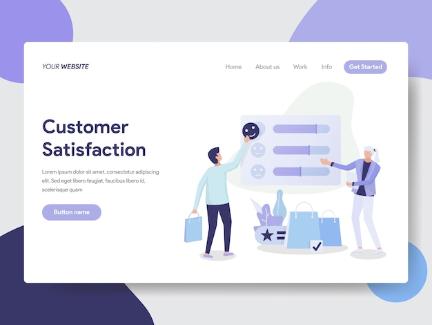Customer satisfaction illustration for website page