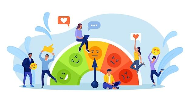 감정 아이콘이 있는 고객 만족도 측정기. 설문 조사 클라이언트, 고객 리뷰 평가 및 성능에 대한 최상의 평가. 고객 피드백의 개념, 소비자 온라인 보고서. 사용자 경험