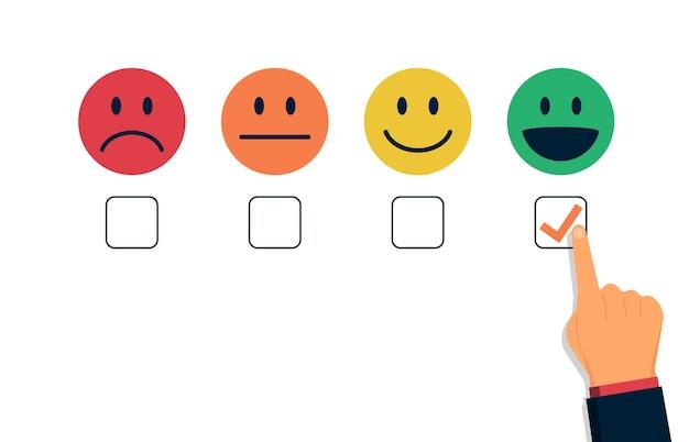 확인란 그림 중 하나를 손으로 선택하는 고객 만족도 평가 개념.