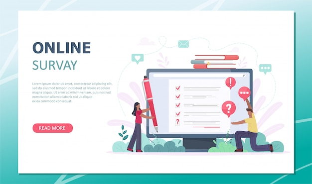 Customer satisfaction survey landing page. flat mini persons concept with quality test and satisfaction report. feedback from customers or opinion form. client answers