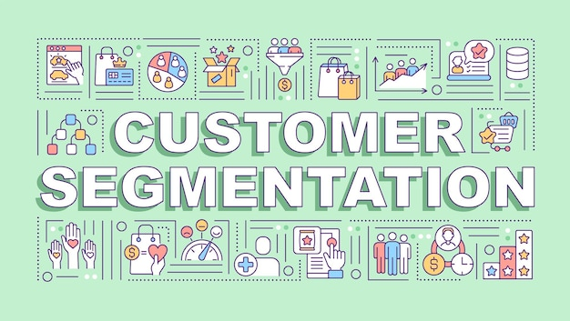 Customer segmentation word concepts banner. consumer behavior analysis