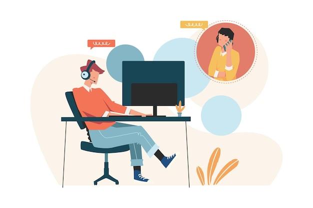 고객 서비스는 고객에게 온라인 지원을 조언합니다.